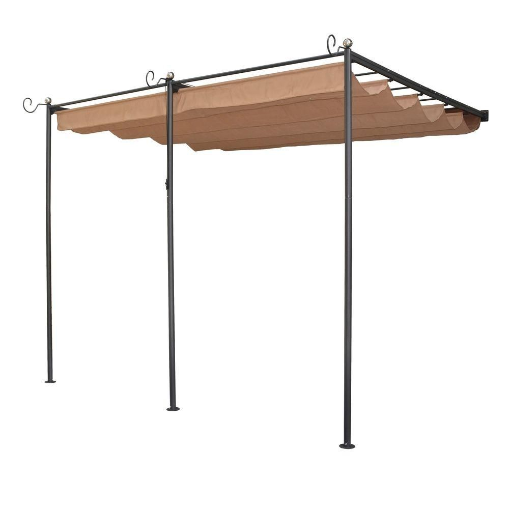 Bosmere English Garden 10 Ft 9 In X 8 Ft 10 In Gunmetal Grey Steel Wall Mount Retractable Canopy Blacks Steel Pergola Aluminum Pergola Metal Pergola