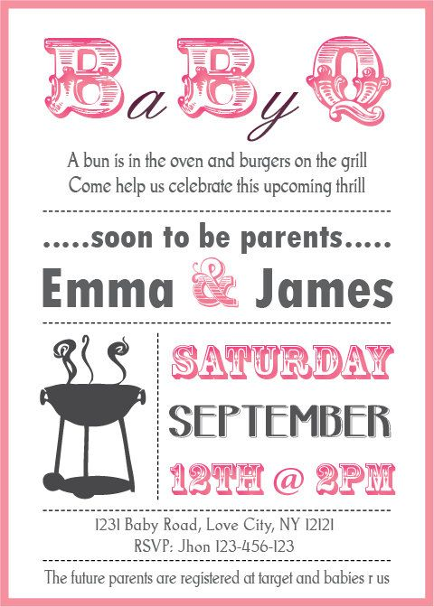 baby shower bbq invitation couples boy or girl by partyjony, $6.90, Baby shower invitations