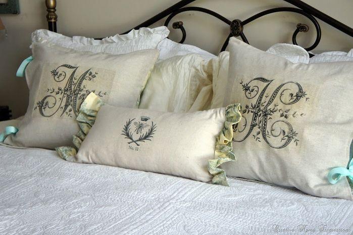 Monograma en las almohadas. Plantillas para la transferencia a la ...