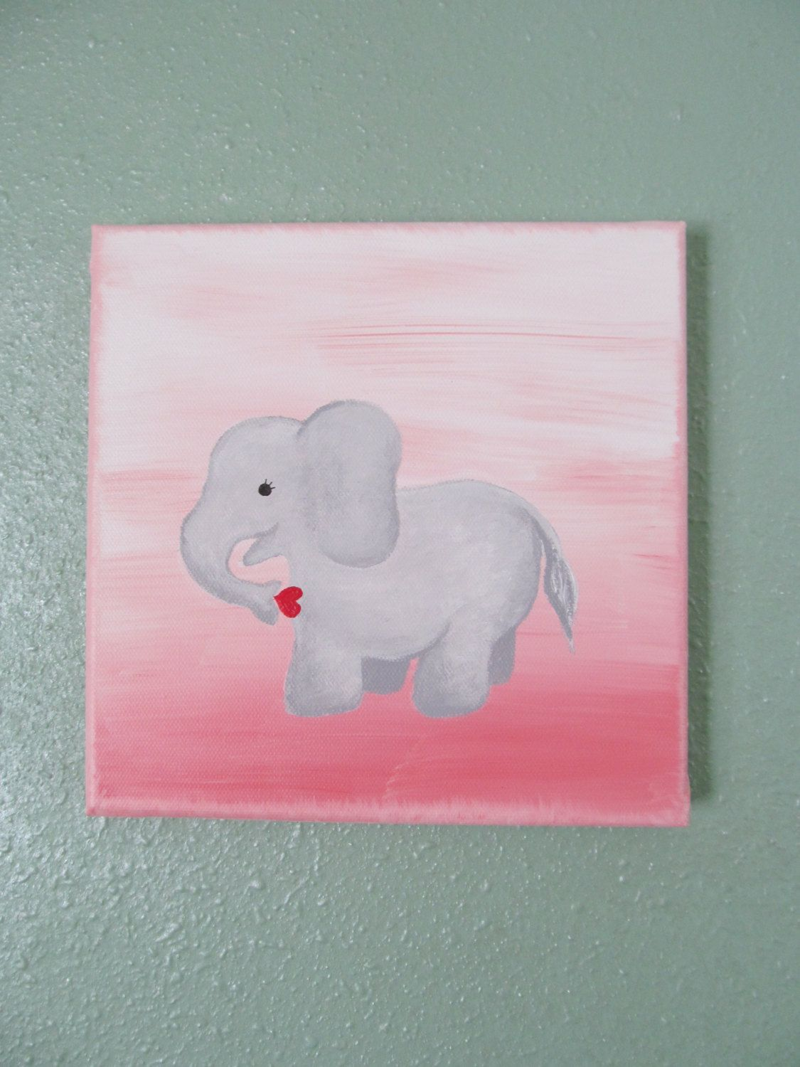Pink And Red Baby Elephant With A Heart Nursery Acrylic