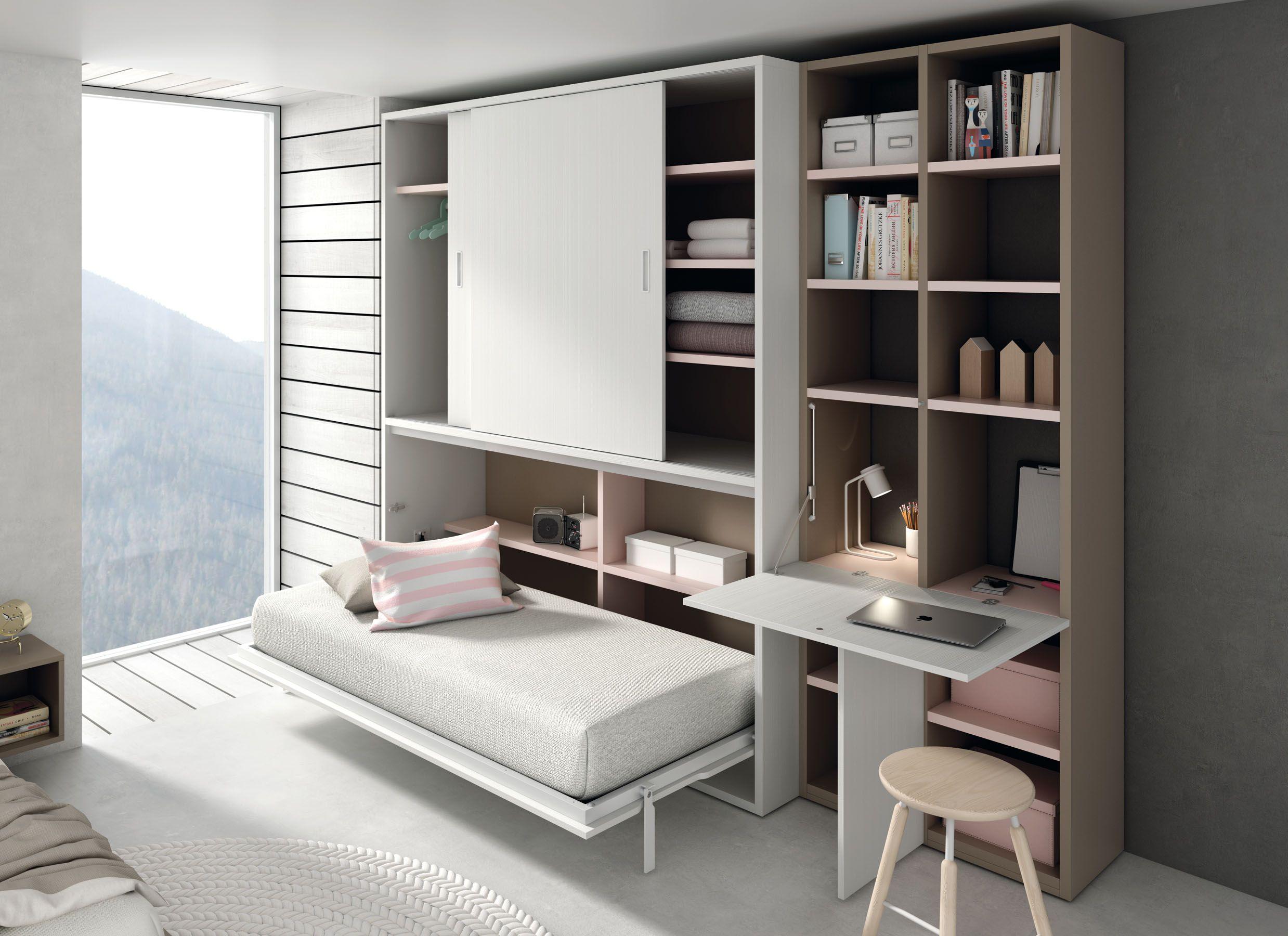 Cama y mesa de estudio abatible http www - Mesas de dormitorio ...