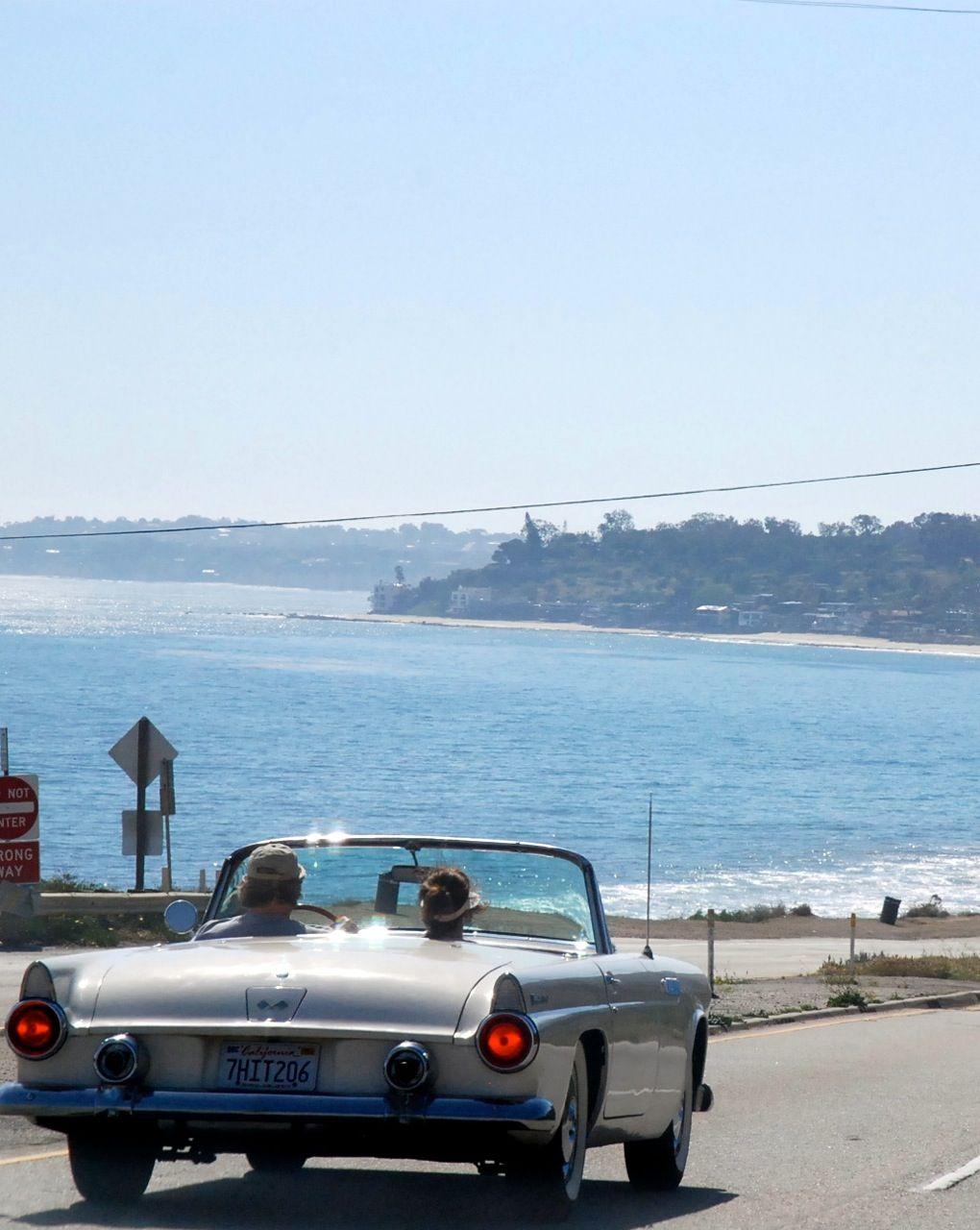 Corvette convertible approaching Paradise Cove in Malibu