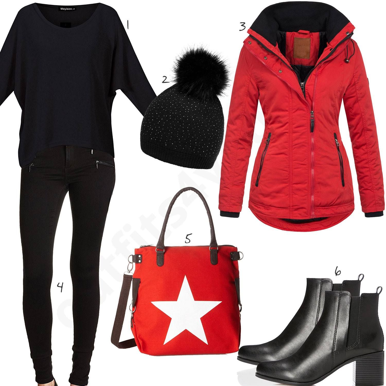 Rote winterjacke mit kapuze