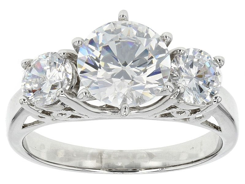 53899802e Pre-Owned Bella Luce 4.53ctw Round Cubic Zirconia .925 Sterling Silver  3-Stone Ring