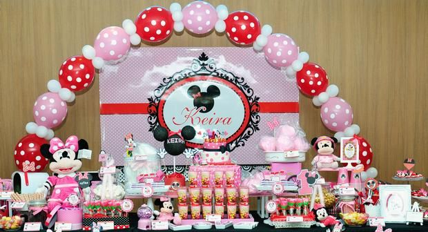Pink Red Minnie Mouse Party Ideas Themed Birthday