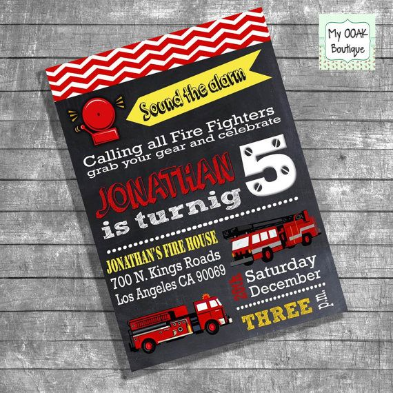 Birthday firefighter party invitation kids by myooakboutique, $12.00