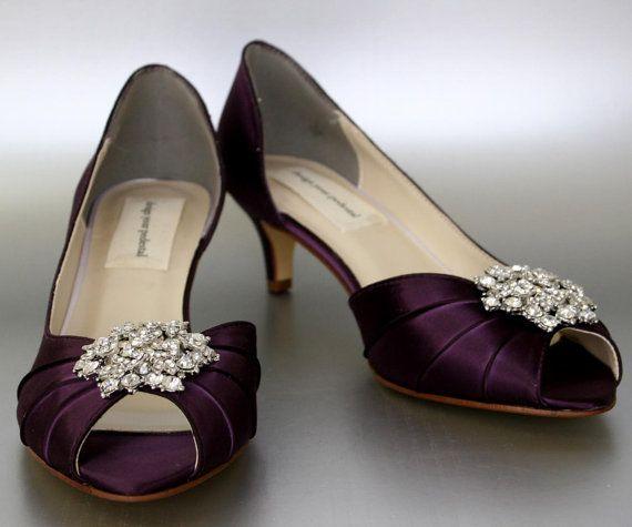 wedding shoes plum wedding shoes wedding shoes plum purple wedding shoes kitten heels peep toes bridesmaids shoes custom wedding shoe