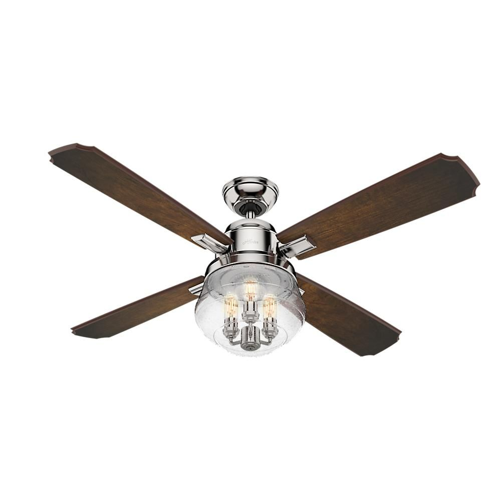 Hunter sophia 54 in led indoor polished nickel ceiling fan with hunter sophia 54 in led indoor polished nickel ceiling fan with remote control and light mozeypictures Choice Image