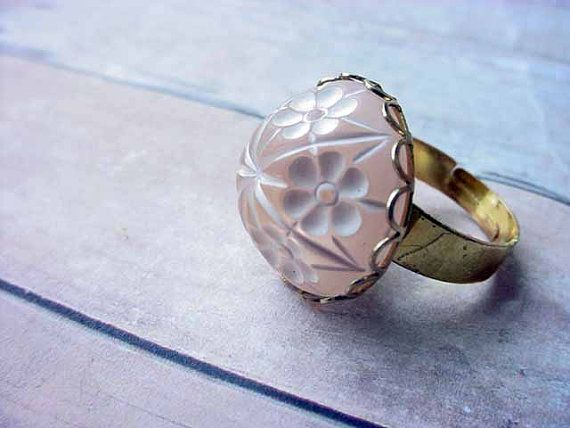 CIJ Pink Japanese Cherry Blossom Ring  Gold by MySelvagedLife, $8.10