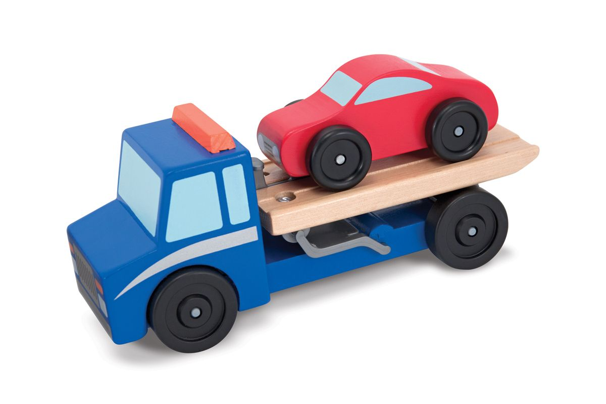 Flatbed tow truck wooden toy set flatbed towing tow