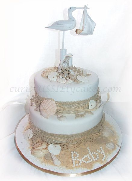 Beach Themed Baby Showers | Beach Theme Baby Shower Cake   By  CuriAUSSIEtycakes @ CakesDecor.