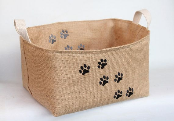 Black and Grey Paw Print Hessian Burlap Padded by RaggedHome