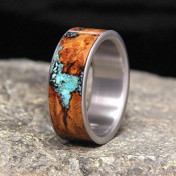 Black Cherry Burl Turquoise Inlay Titanium Wedding Band or Unique Gift Ring in 2019  ringe