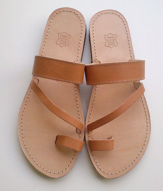 Griekse lederen sandalen, sandalen, platte sandalen
