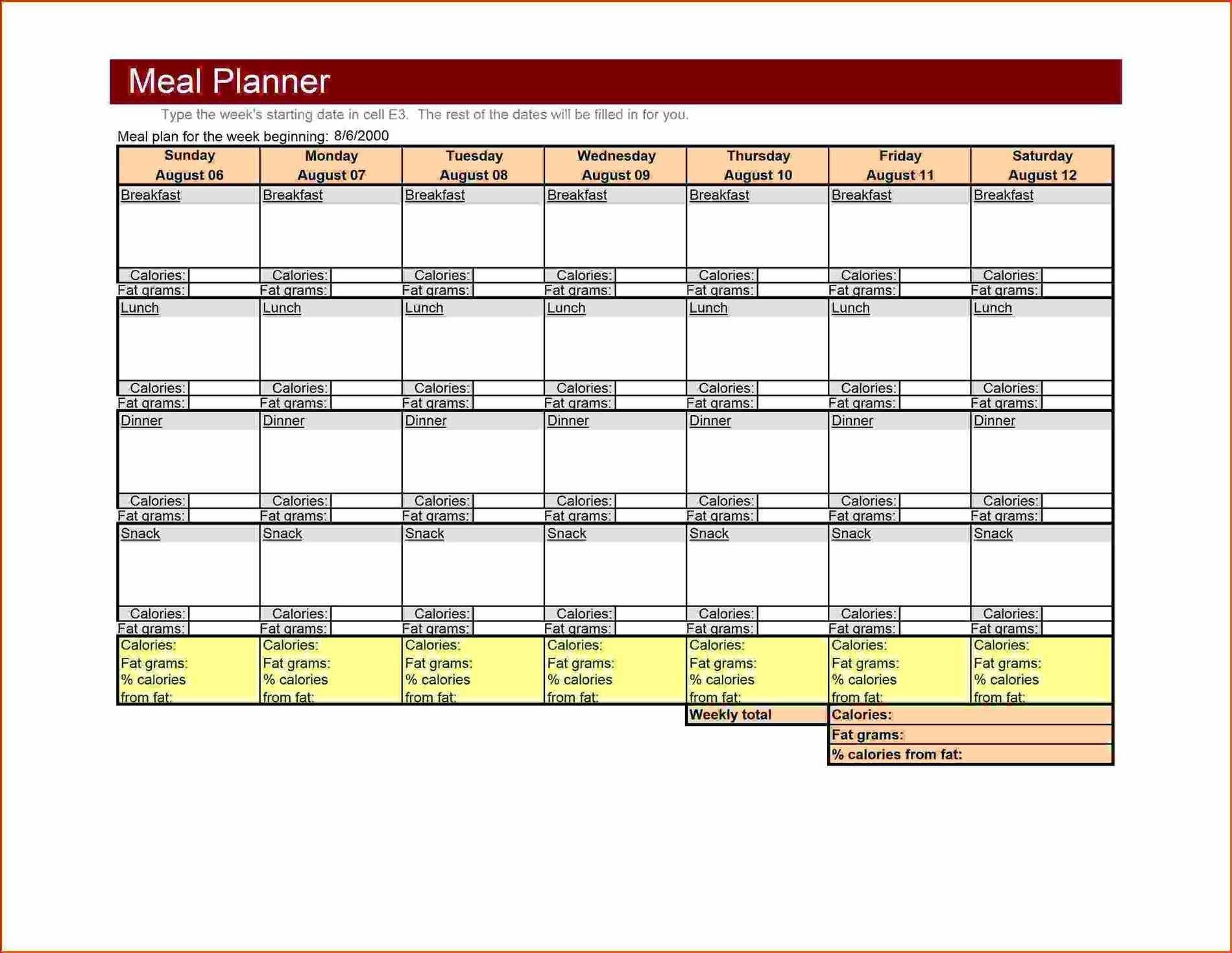 weekly menu template word