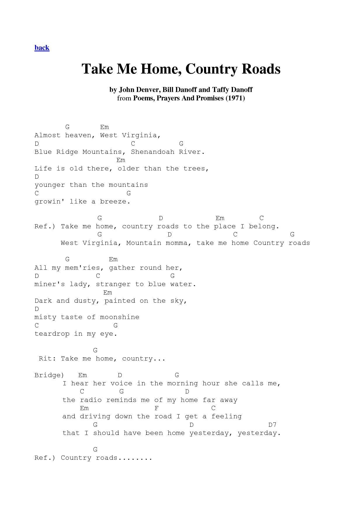 Take Me Home, Country Roads - John Denver | Guitar ...  Take Me Home, C...