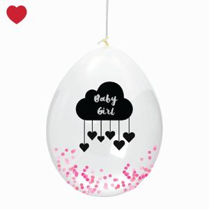 Confetti ballon roze baby girl