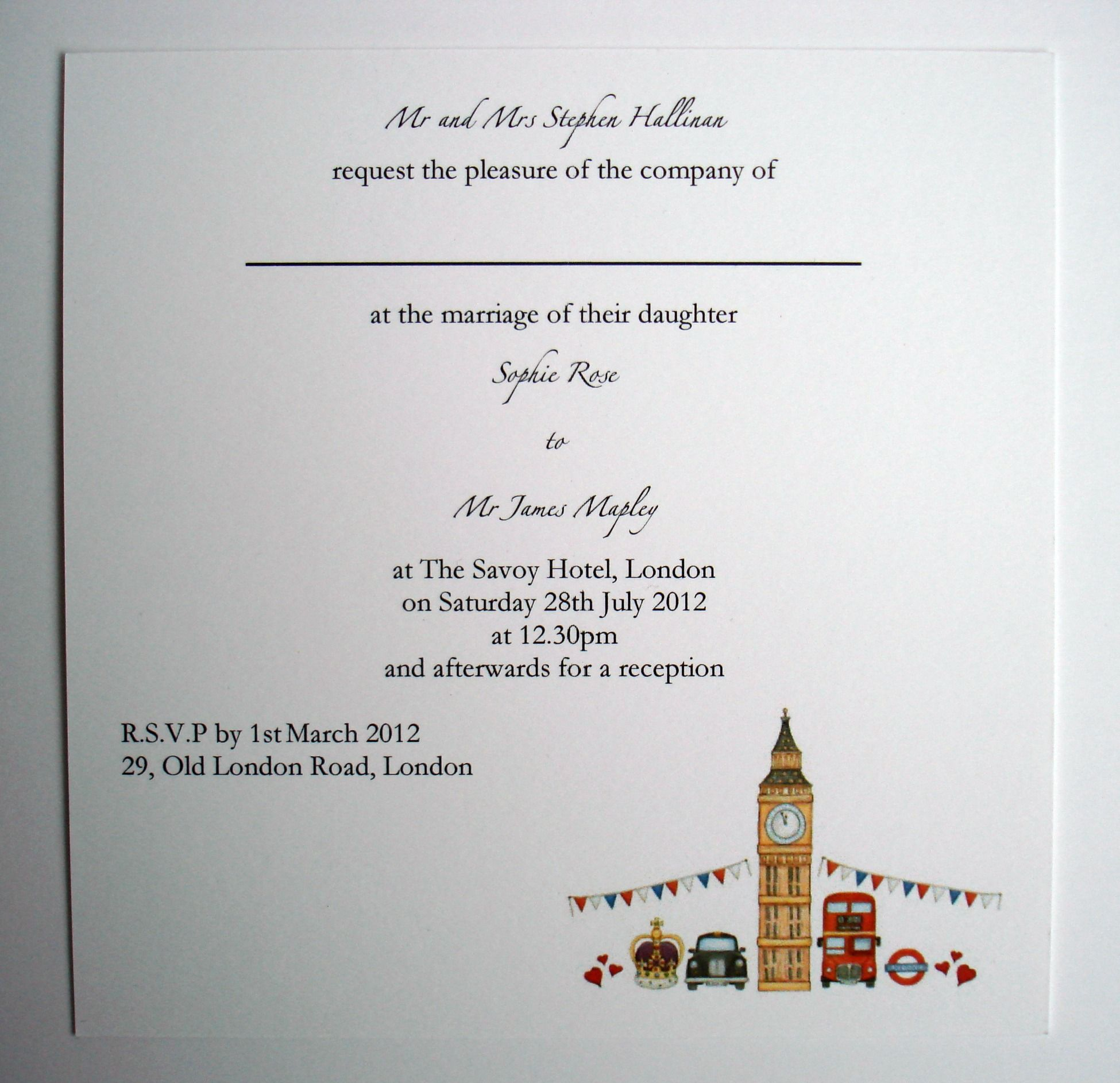 London Theme Wedding Evening Invitation www.beadazzledesigns.co.uk ...