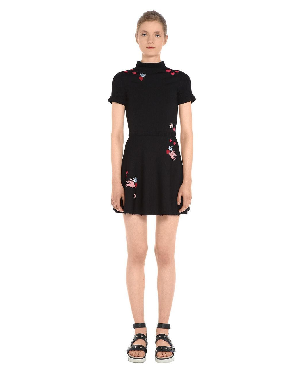 Red valentino black special edition hearts and birds intarsia knit