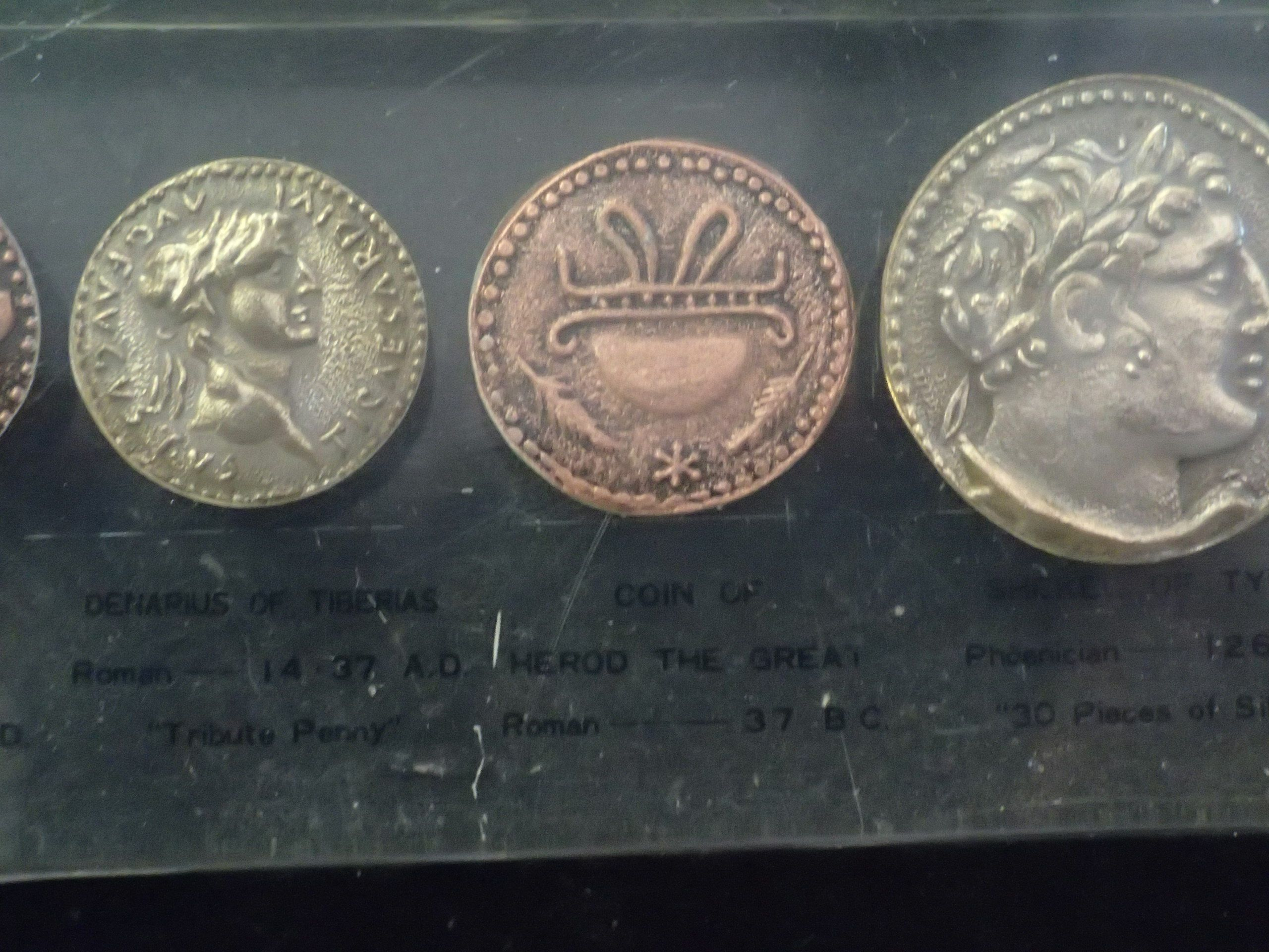 """Denarius of Tiberias - Roman 14-37 AD aka """"Tribute Penny"""" (left). Coin of Herod the Great - Roman 37 BC (center). Shekel of Tyre - Phoenician 126 BC aka """"30 Pieces of Silver"""""""