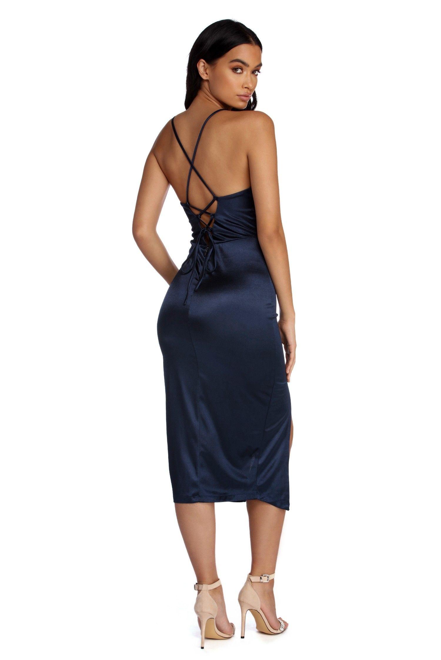 f7bd8aa2c6 Kenzie Navy Blue Formal Lattice Midi Dress Kenzie Formal Lattice Midi Dress  Navy Blue Dresses,