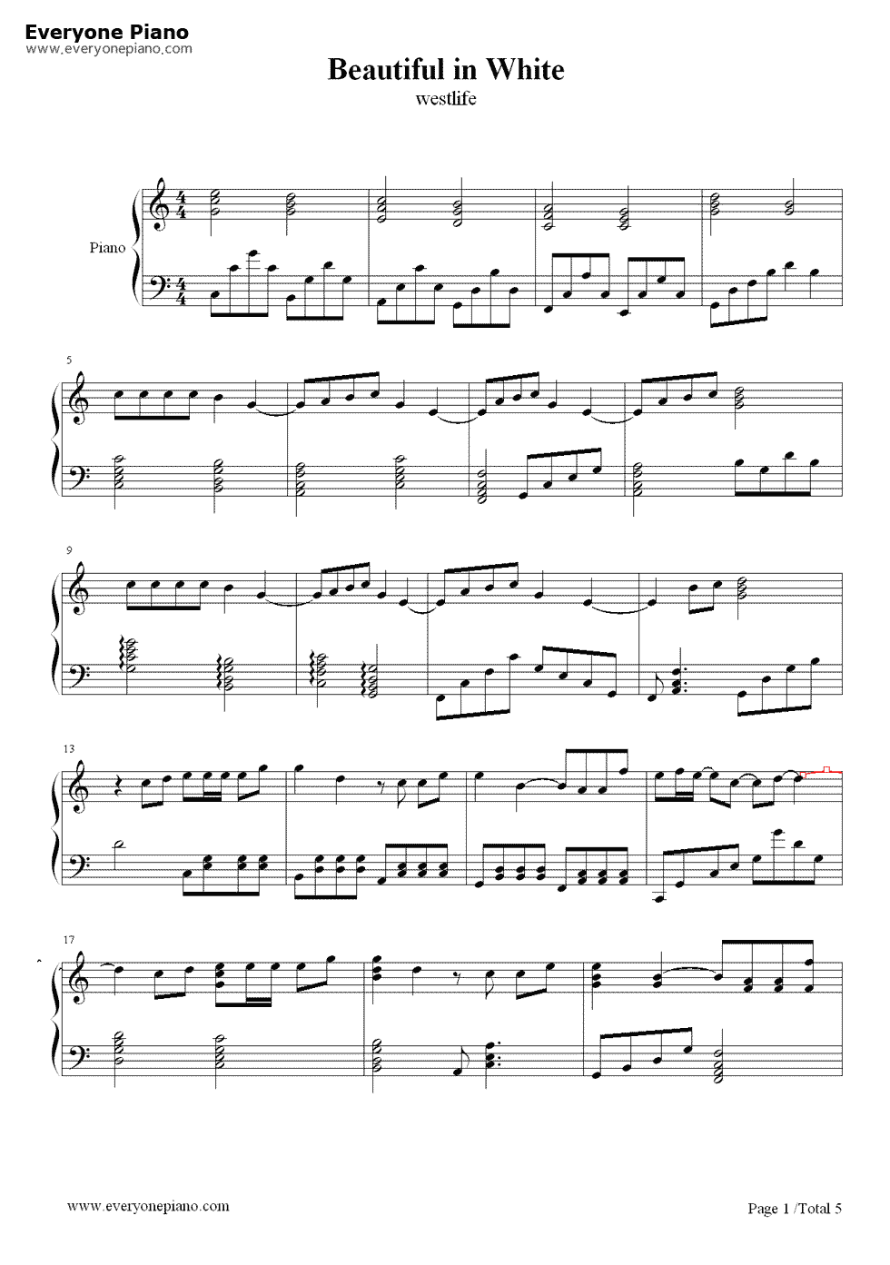 Beautiful In White Westlife Stave Preview 1 Piano Sheet Music Free Music Notes Song Sheet