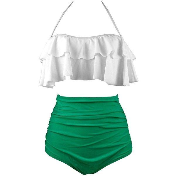 f912f0fcae Women's Retro Boho Flounce Falbala High Waisted Swimsuit Bathing Suits...  ($9.99) ❤ liked on Polyvore featuring swimwear, bikinis, swimsuits bikinis,  ...
