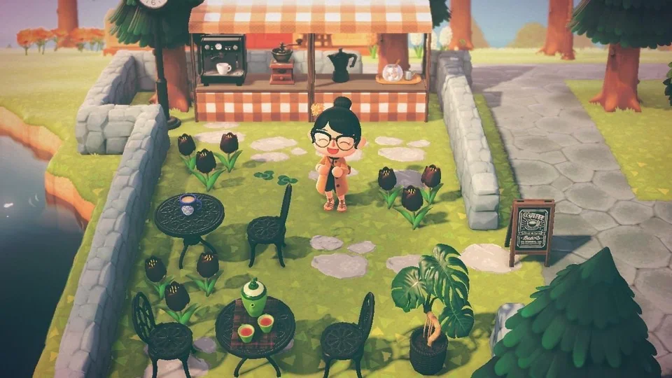 Made a little cafe for my forest island! AnimalCrossing