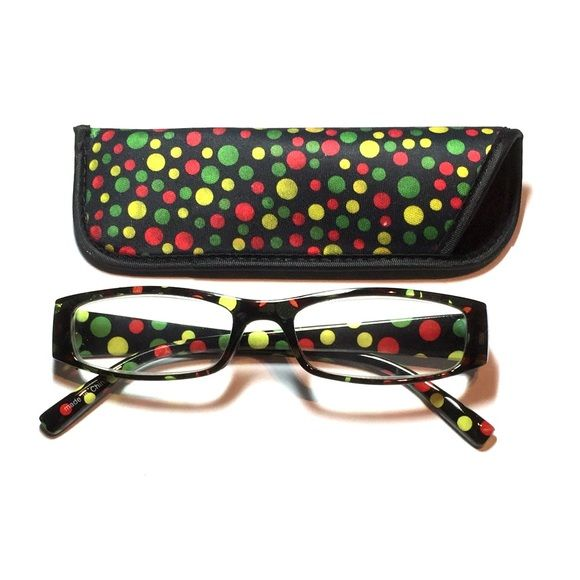 1.50 reading glasses polkadot with case 1.50 reading glasses polkadot pattern with case Accessories Glasses