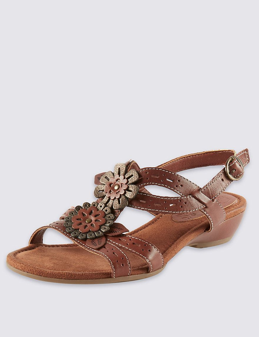 f48647dcdd49 Leather Floral Punch Hole Wide Fit Sandals