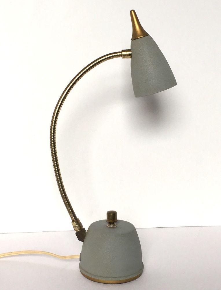 Vintage Desk Lamp Mid Century Hi Litemetal Goose Neck Blue Gold Industrial Mcm Desk Lamp Vintage Desk Lamp