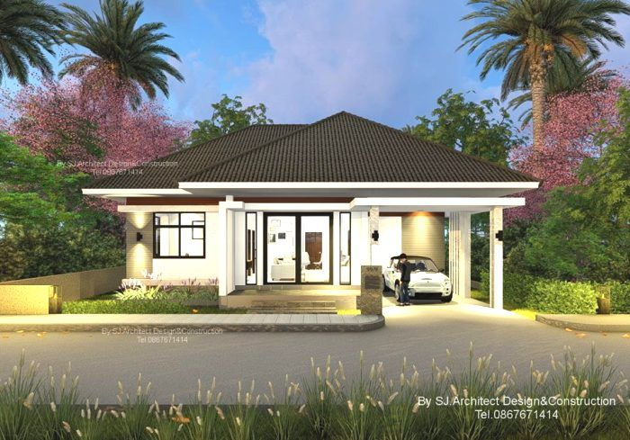 Best Contemporary Three Bedroom Bungalow With A Hip Roof One 400 x 300