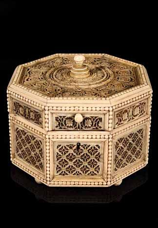 Early 19th Century Russian Ivory FiligreeMounted Octagonal Shaped