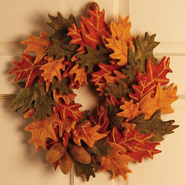 felted wool pin oak leaf wreath odds and ends pinterest oak