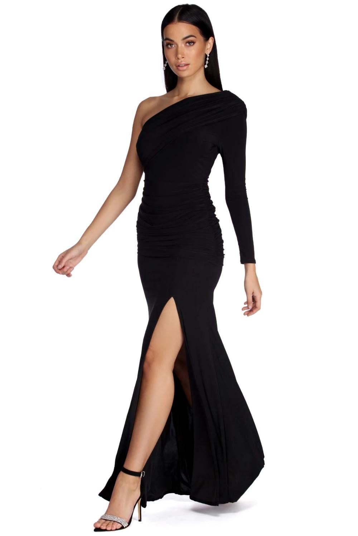 Maia Formal One Shoulder Dress Dress Hairstyles Chic Black Dress Black One Shoulder Dress [ 1498 x 1000 Pixel ]