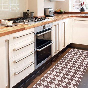 Vysoce odolný kuchyňský koberec Pied de Poule Brown, 60x220 cm | Bonami