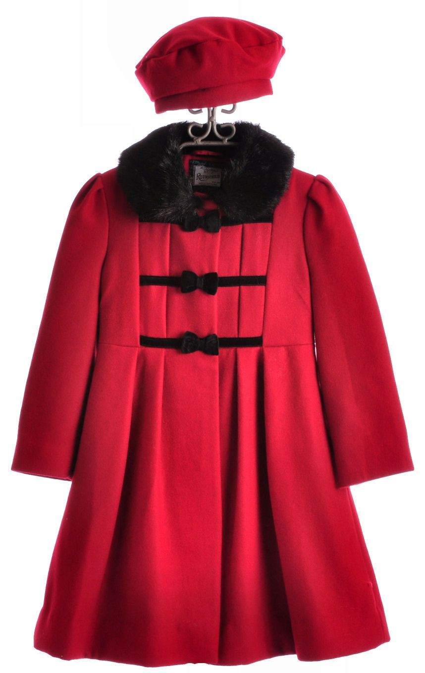 c9d05770bb5 Rothschild Girls Red Coat and Cap - Wool Winter Coat Set 4 - 6X- for my wee  Madelyn!!