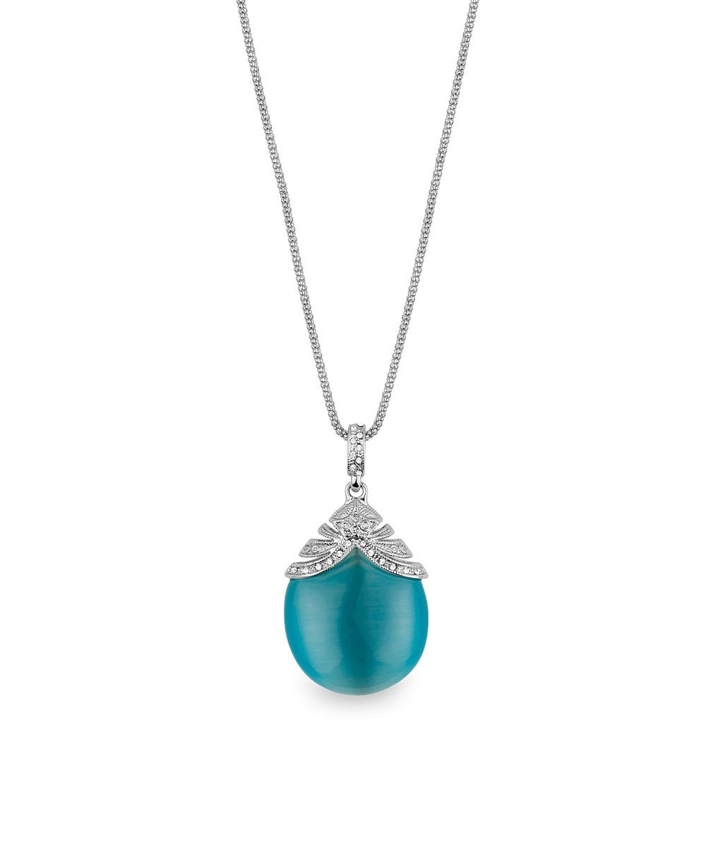 Love this Blue Cat's-Eye & Silvertone Filigree Pendant Necklace by Amabel Designs on #zulily! #zulilyfinds