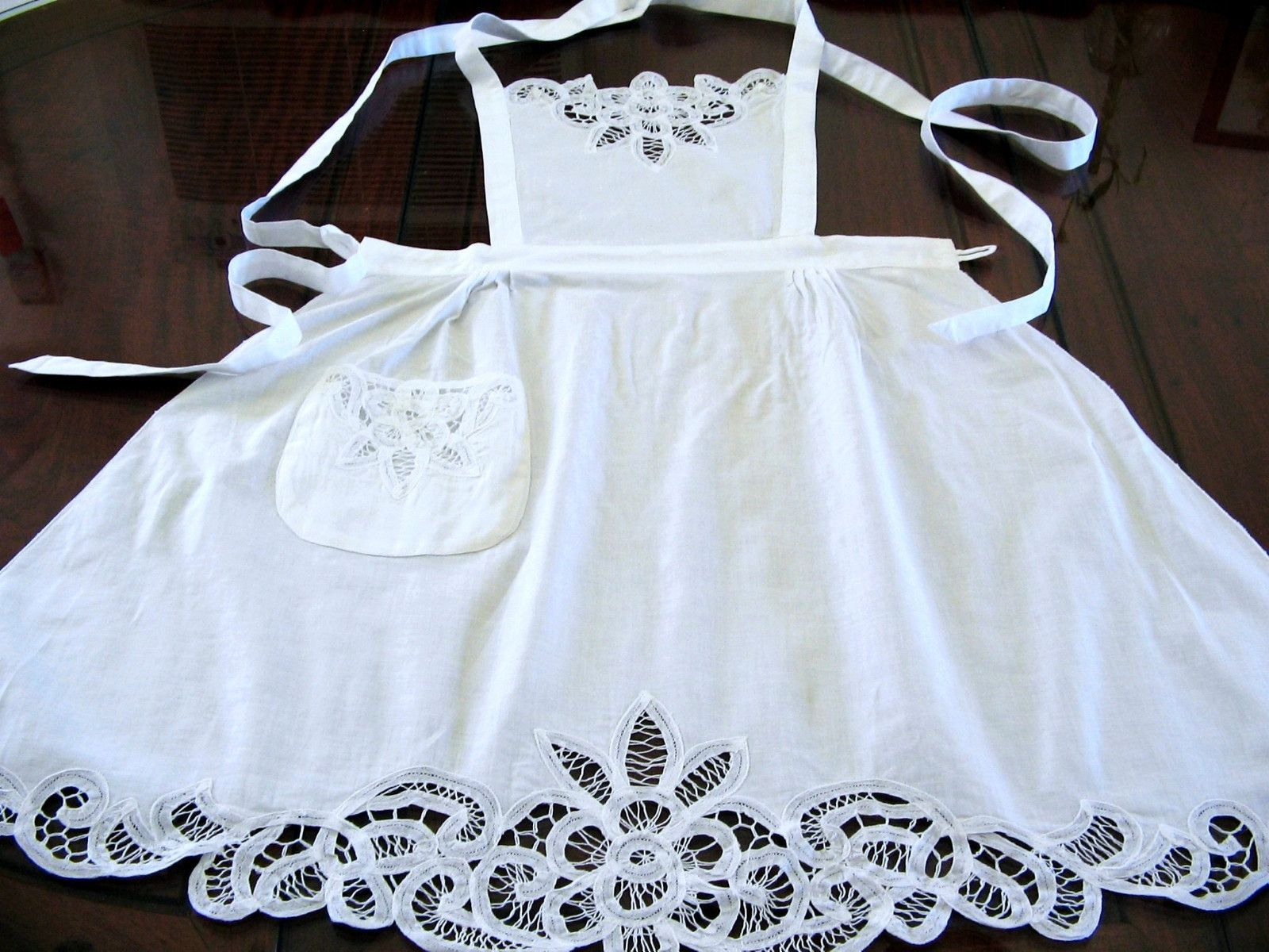 White lace apron ebay - White Victorian Battenburg Lace Bib Chapel Bib Apron Wedding Bridal Costume Play Ebay