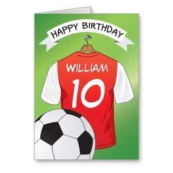 Soccer football red shirt custom sports birthday greeting card soccer football red shirt custom sports birthday greeting card m4hsunfo