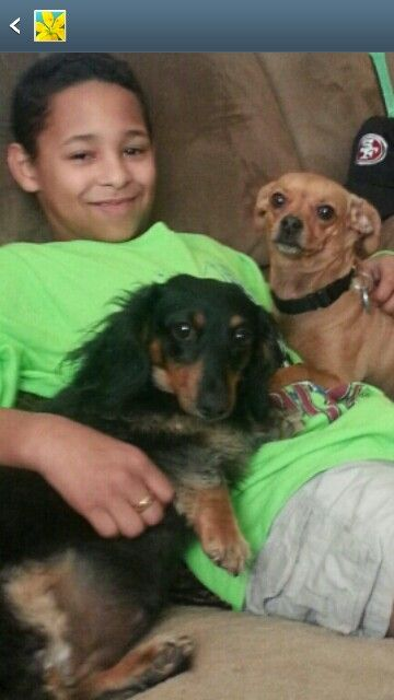 My Grandson with my dogs. AND I A- COPPER