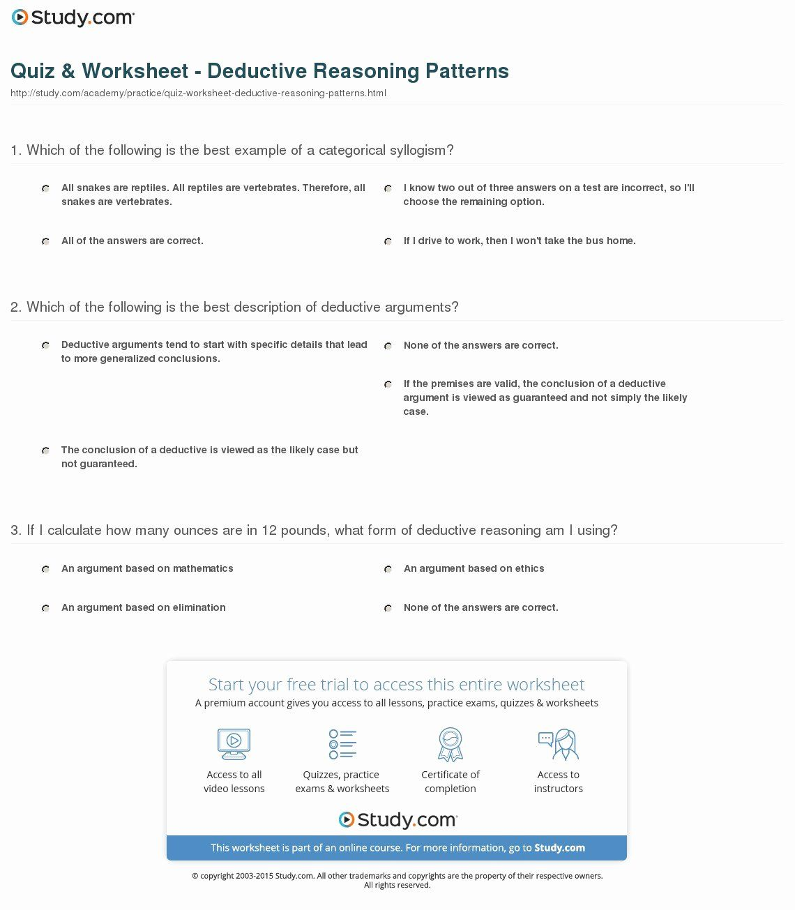 Inductive And Deductive Reasoning Worksheet New Quiz