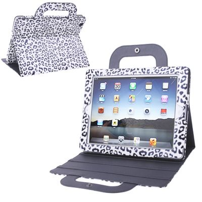 [USD6.32] [EUR5.72] [GBP4.45] Leopard Multi-functional Sleep / Wake-up Leather Case with Holder / Handbag / for iPad 4 / New iPad (iPad 3) / iPad 2