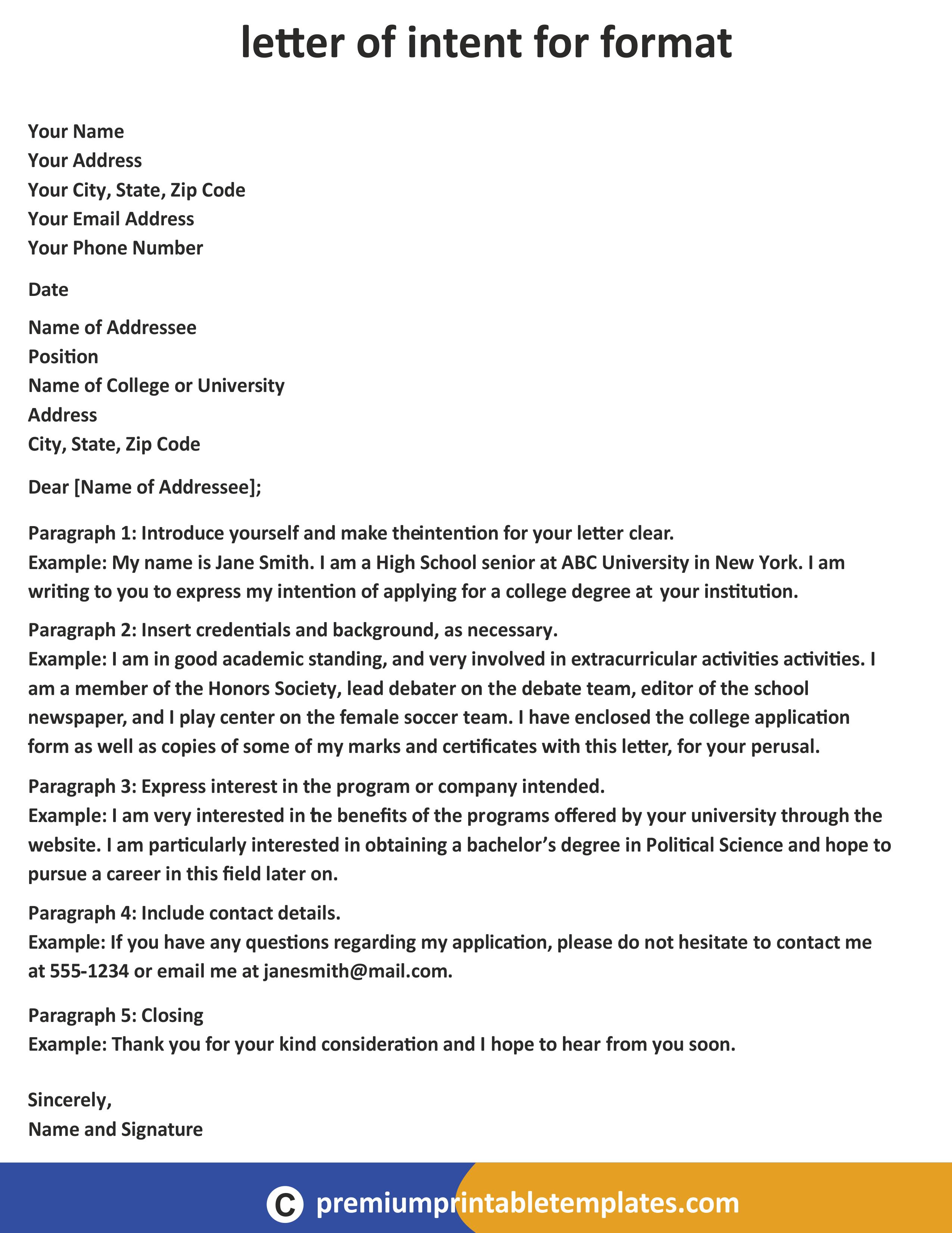 Letter of Intent Format Premium Printable Templates