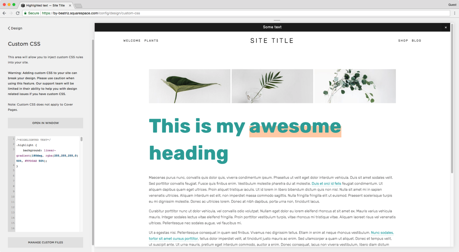 How To Create A Low Highlight Behind Your Text Thirty Eight Visuals Highlights Squarespace Website Design Background Css