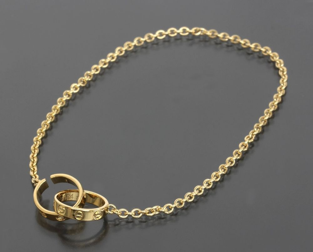 Auth Cartier 18k Yellow Gold Chain Link Baby Love Bracelet 1050