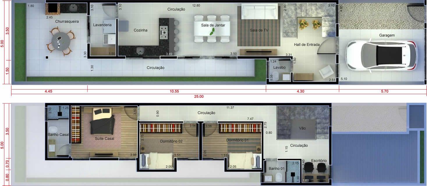 Plano De Casa Con 5 Metros De Frente5x25 Frente En 2018