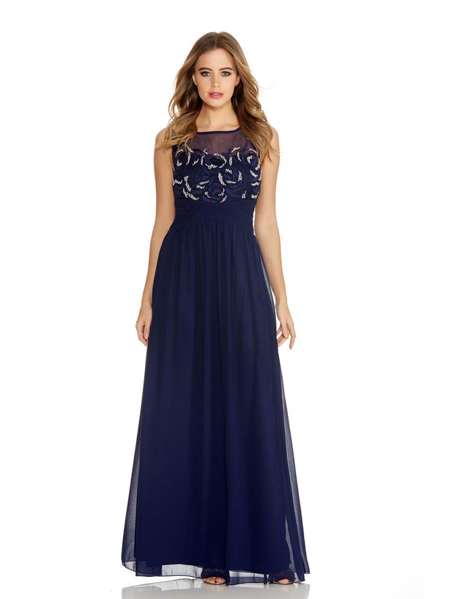 Black dress debenhams - Navy Beaded Flower Pattern Quiz Prom Dress