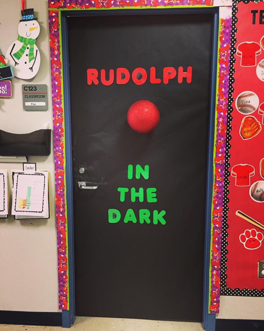 Rudolph In The Dark Door Decorations Classroom Christmas Christmas Classroom Door Christmas Door Decorating Contest