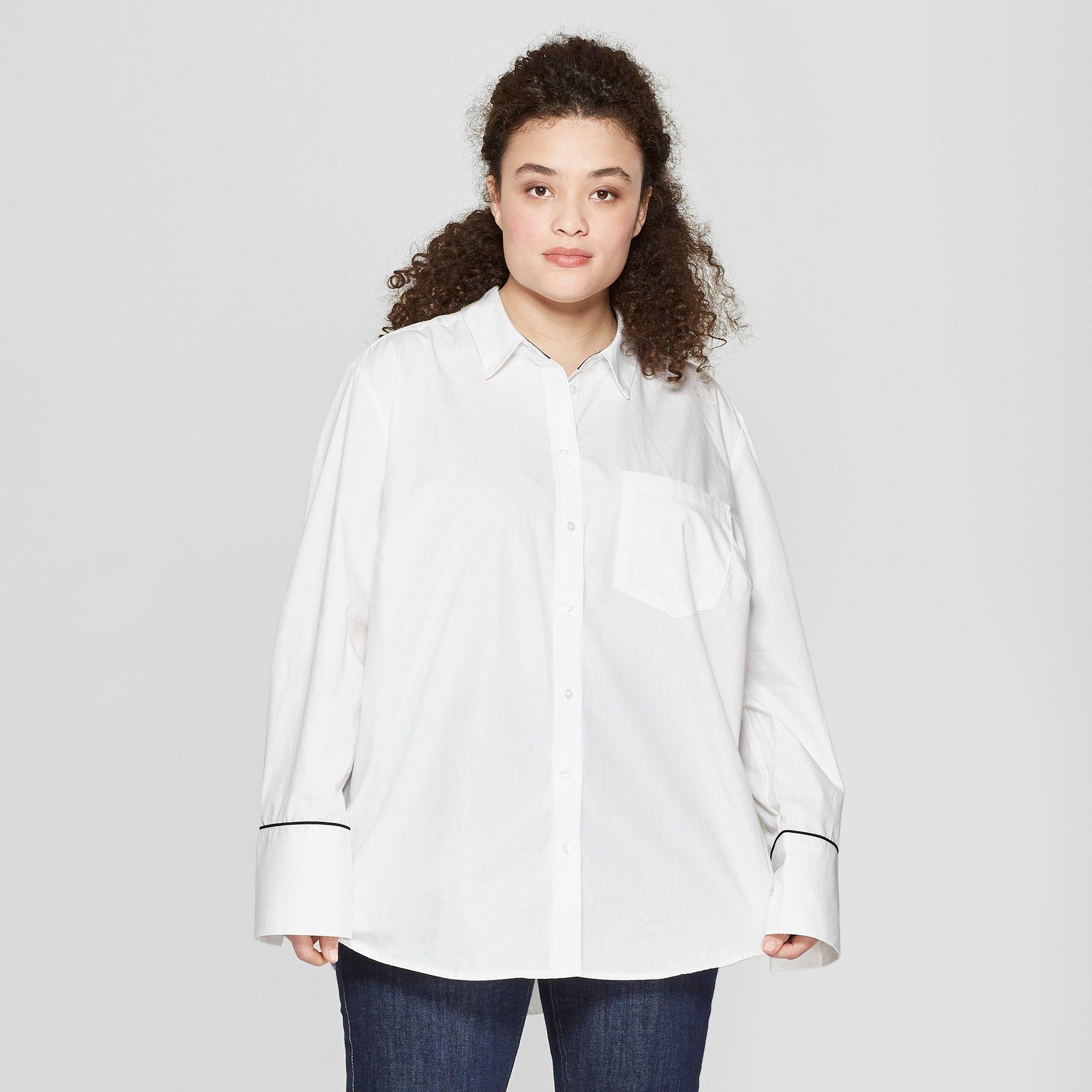 a494e9a3c Women's Plus Size Long Sleeve Button-Down Shirt - A New Day + Vital Voices  - White 3X